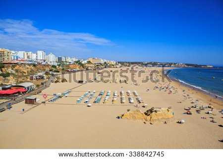 PORTIMAO, ALGARVE, PORTUGAL - SEPTEMBER, 2015: The coast of the Algarve in southern Portugal near Portimao