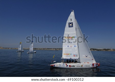 PORTIMAO, PORTUGAL - JUNE 23: Participant in action at World Match Racing Tour Cup -  June 23, 2010 in Portimao, Portugal.