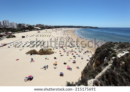 PORTIMAO, PORTUGAL - JUNE 6: The famous Algarve beach - Praia da Rocha. June 6, 2012 in Portimao, Algarve, Portugal