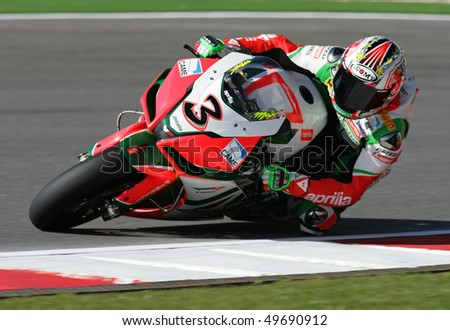 PORTIMAO, PORTUGAL - MARCH 27: Max Biaggi, 2nd place Superpole 3 on Superbikes on March 27, 2010 in Algarve, Portimao, Portugal. - stock photo