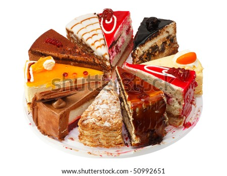 Portion cake different performance. White background. - stock photo