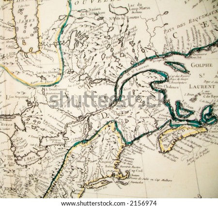 Portion of a French map of Canada and New England from the middle 19th century. - stock photo