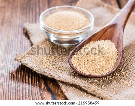 Portion of Amaranth Amaranth on a wooden spoon - stock photo