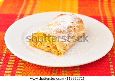 Portion of Bulgarian pumpkin roll - tikvenik - stock photo