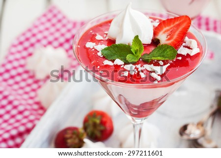 Portion of delicious creamy strawberry dessert (mousse) - stock photo