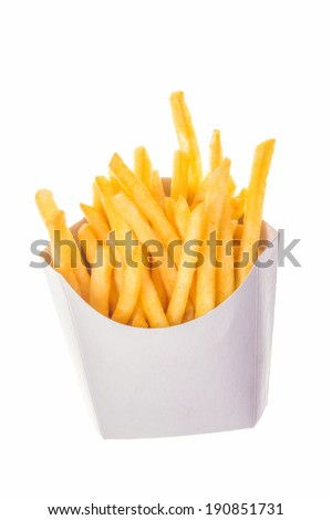 portion of french fries in paper wrapper; roasted french fried potato chips; french fries in white carton box
