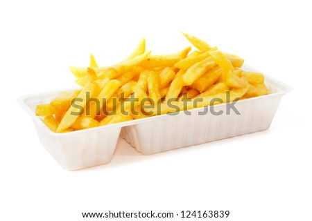 Portion of French fries in plastic disposable tray
