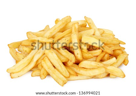 portion of french fries on white - stock photo