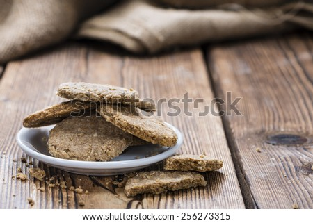 Portion of fresh baked Oat Cookies (close-up shot) - stock photo