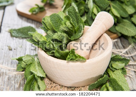 Portion of fresh Mint (detailed close-up shot) - stock photo