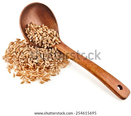 Portion of grains spelt , health food, in spoon isolated on white background - stock photo
