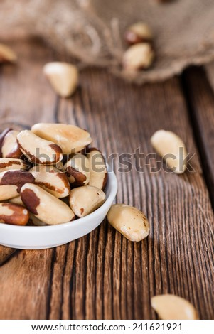 Portion of healthy Brazil Nuts as detailed close-up shot) - stock photo
