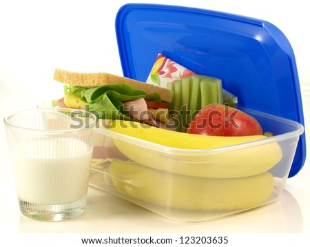 Portion of healthy lunch on white background - stock photo