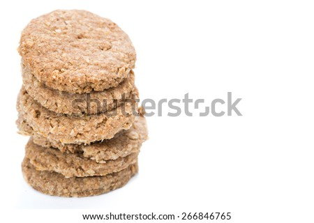 Portion of Oat Cookies isolated on white background - stock photo