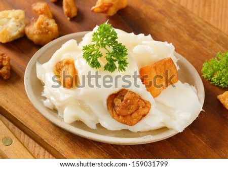 portion of pork lard with fried greaves