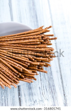 Portion of Salt Sticks (as detailed close-up shot) - stock photo