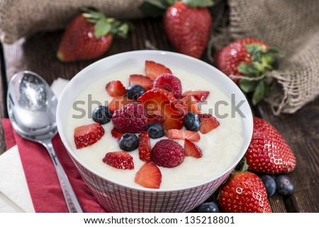 Portion of Semolina Pudding with fresh berries