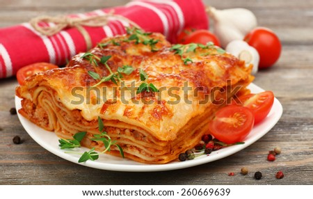 Portion of tasty lasagna, close-up - stock photo