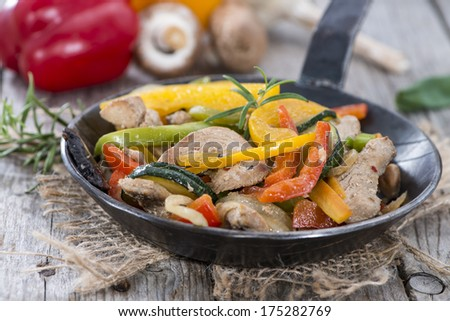 Portion of Vegetables with Chicken meat and fresh herbs - stock photo