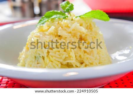 Portion of  white rice. - stock photo