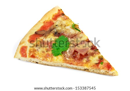 Portion slice pizza with bacon, mushroom and tomatoes with herbs isolated over white - stock photo