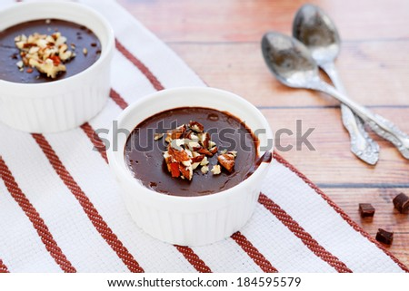 portioned chocolate pudding, food closeup - stock photo