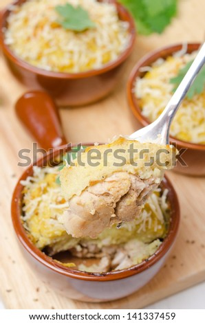 portioned form with baked chicken with mashed cauliflower and cheese - stock photo