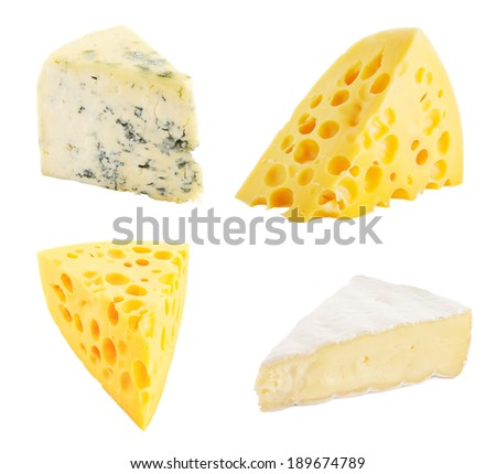 Portions of different cheese isolated on white background.  - stock photo