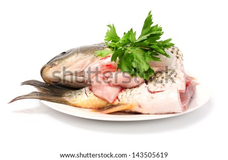 Portions of raw carp fish