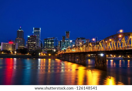 Portland city view in night time - stock photo