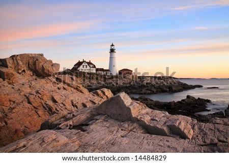 Portland Head Light At Sunrise, Portland, Maine - stock photo