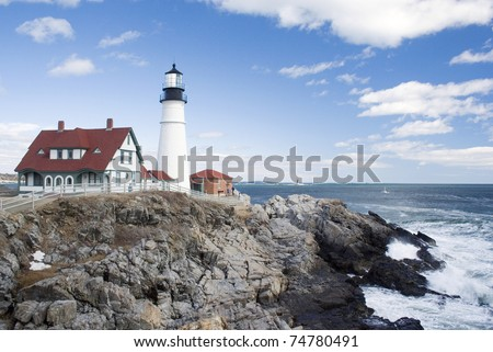 Portland Head Light lighthouse Cape Elizabeth Maine - stock photo