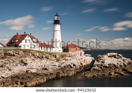 Portland Head Light Lighthouse in Maine, New England, USA - stock photo