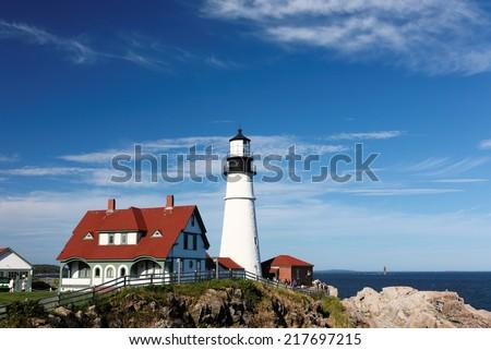 Portland Head Light Lighthouse, Portland, Maine, USA - stock photo