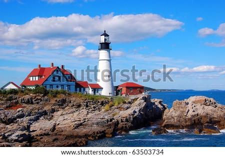 Portland Head Light. Portland Maine - stock photo