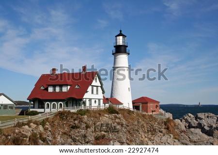 Portland Head Light, Portland, Maine, USA. Landscape view. - stock photo