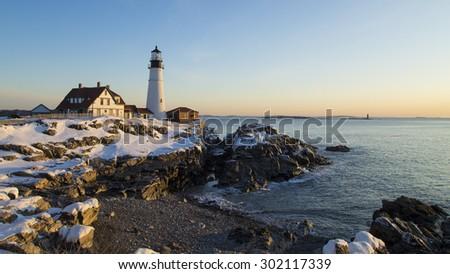 Portland Head Light, Portland, Maine - Winter Sunrise - stock photo