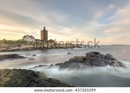 Portland Head Lighthouse in Cape Elizabeth, Maine. It is a historic lighthouse in Cape Elizabeth, Maine. Completed in 1791, it is the oldest lighthouse in the state of Maine. - stock photo