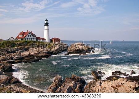 Portland Head Lighthouse in Maine - stock photo