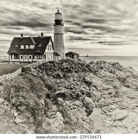 Portland Head Lighthouse in Maine dramatic view - stock photo