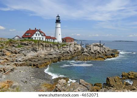Portland Head lighthouse in Maine, USA, medium view - stock photo