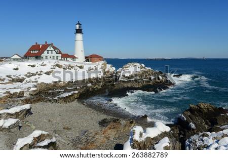 Portland Head Lighthouse in winter, Cape Elizabeth, Maine, USA - stock photo
