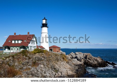 Portland Head Lighthouse is located at the entrance of Portland Harbor in Cape Elizabeth, Maine, USA.
