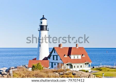 Portland Head Lighthouse, Maine, USA - stock photo