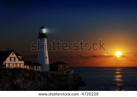 Portland headlight light house at dawn - stock photo