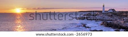 portland, maine head lighthouse at sunrise (reversed) - stock photo