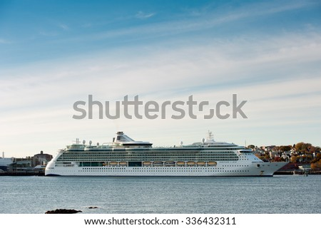 PORTLAND, MAINE - OCTOBER 27, 2015 - Princess Cruise Lines the Serenade of the Seas cruise ship sits docked at the Ocean Gateway Terminal in Portland on a fall cruise.