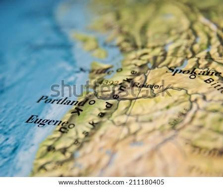 Portland map, part of world globe - stock photo