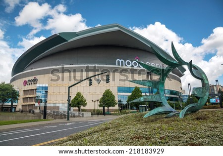 PORTLAND - MAY 5: Moda center on May 5, 2014 in Portland, Oregon. Moda Center, formerly known as the Rose Garden, is the primary indoor sports arena in Portland. - stock photo