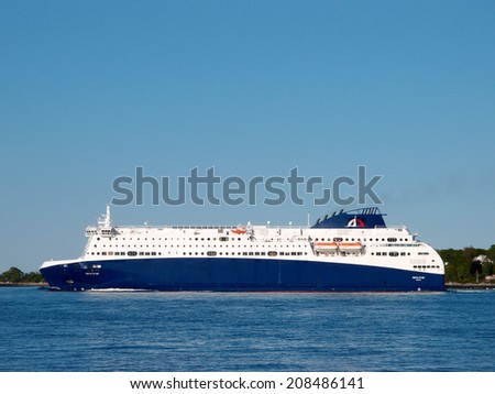 PORTLAND, ME -  MAY 31: Nova Star Cruises sails into portland, Nova Star, for an entertaining travel Boat moves people and cars between ports. Portland, Maine on 31 May 2014. - stock photo